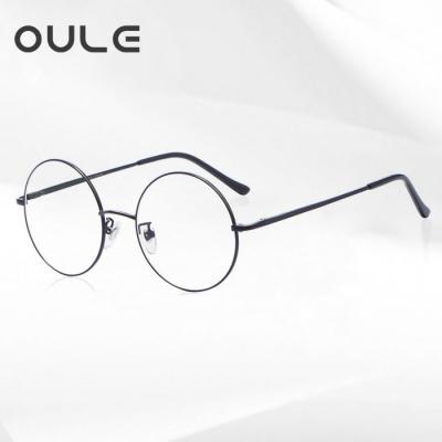 OULE 男女经典圆形复古眼镜框 文艺潮流全框金属合金眼镜架 黑色大号