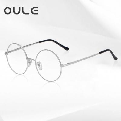 OULE 男女经典圆形复古眼镜框 文艺潮流全框金属合金眼镜架 银色大号