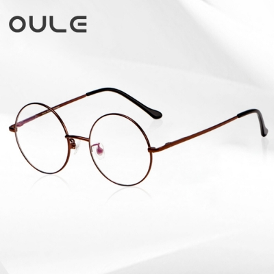 OULE 男女经典圆形复古眼镜框 文艺潮流全框金属合金眼镜架 咖啡色大号