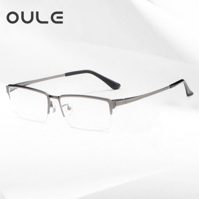OULE 超轻纯钛商务近视眼镜框 男士半框时尚眼镜架 小码枪色