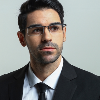 OULE 男士半框商务眼镜框 商务眉线防蓝光近视眼镜架 银色