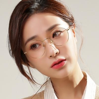 OULE 男女同款超轻纯钛眼镜 时尚圆框近视眼镜钛架 银色