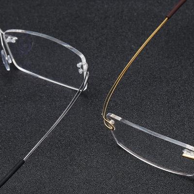 OULE 超轻纯β钛无框眼镜近视眼镜 男女同款商务潮流眼镜架 黑色