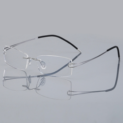 OULE 超轻纯β钛无框眼镜近视眼镜 男女同款商务潮流眼镜架 银色
