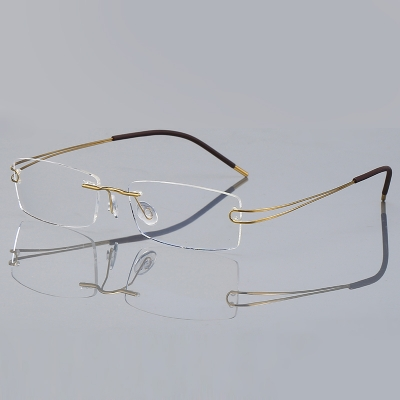 OULE 超轻纯β钛无框眼镜近视眼镜 男女同款商务潮流眼镜架 金色