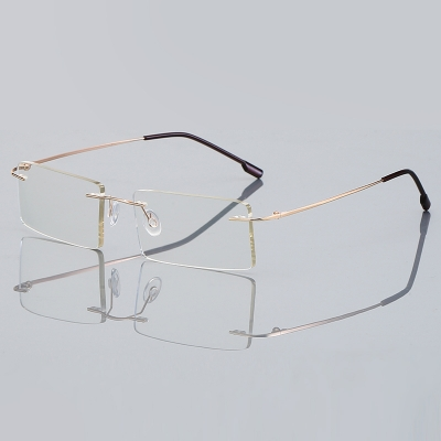 OULE 超轻可折叠钛合金无框眼镜框 男女近视商务眼镜架 金色