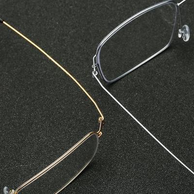 OULE 超轻全框钛合金近视眼镜架 男女镜框商务大脸无螺丝眼镜 金色