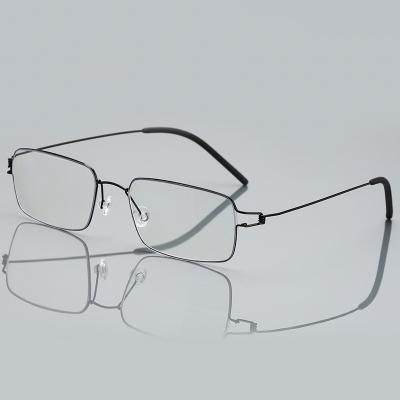 OULE 超轻全框钛合金近视眼镜架 男女镜框商务大脸无螺丝眼镜 黑色