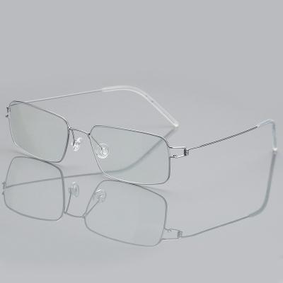 OULE 超轻全框钛合金近视眼镜架 男女镜框商务大脸无螺丝眼镜 银色