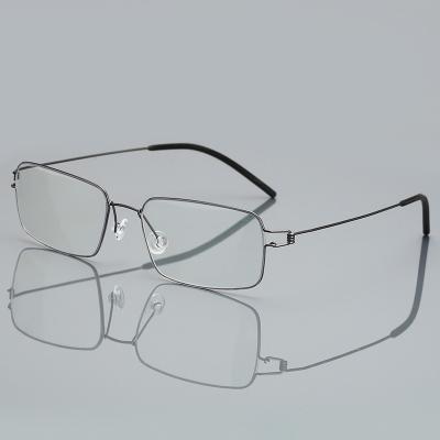 OULE 超轻全框钛合金近视眼镜架 男女镜框商务大脸无螺丝眼镜 枪色