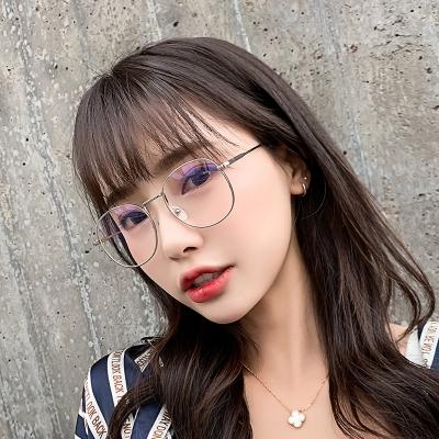 OULE 新款复古椭圆全框近视眼镜 男女防蓝光近视眼镜框 金色