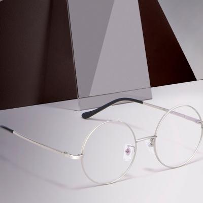 OULE 男女经典圆形复古眼镜框 文艺潮流全框金属合金眼镜架 咖啡色中号