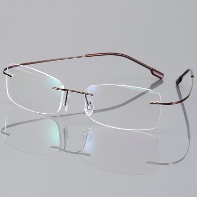 OULE 无框超轻钛合金眼镜框 时尚潮流商务大脸防蓝光眼镜 茶色