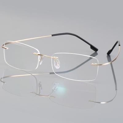 OULE 无框超轻钛合金眼镜框 时尚潮流商务大脸防蓝光眼镜 金色