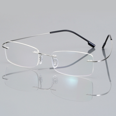 OULE 无框超轻钛合金眼镜框 时尚潮流商务大脸防蓝光眼镜 银色