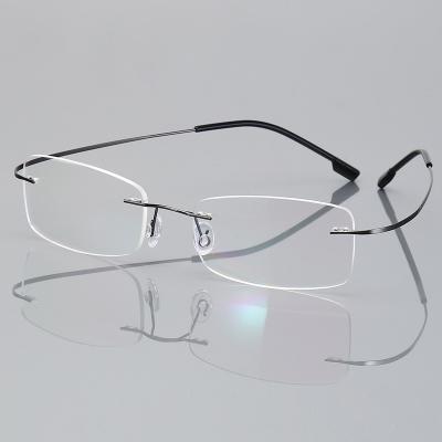 OULE 无框超轻钛合金眼镜框 时尚潮流商务大脸防蓝光眼镜 枪色