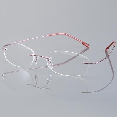 OULE 无框超轻钛合金眼镜框 时尚潮流商务大脸防蓝光眼镜 玫瑰金