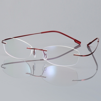 OULE 无框超轻钛合金眼镜框 时尚潮流商务大脸防蓝光眼镜 红色