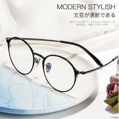 OULE 新款纯钛眼镜框 复古圆形防蓝光眼镜架 黑金色
