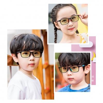 OULE 儿童防辐射近视眼镜 男女超轻防蓝光护目镜 大号黑框蓝腿