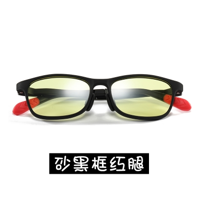 OULE 儿童防辐射近视眼镜 男女超轻防蓝光护目镜 小号砂黑框红腿