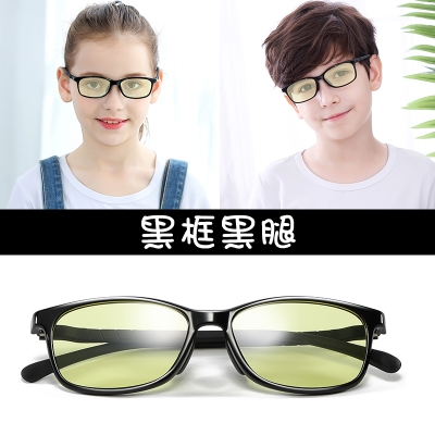 OULE 儿童防辐射近视眼镜 男女超轻防蓝光护目镜 大号黑框黑腿