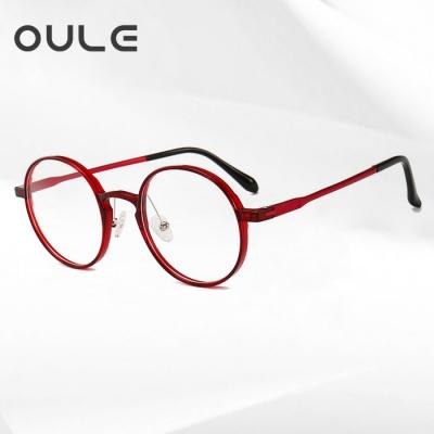 OULE 新款塑钢轻盈眼镜架 男女铝镁圆形复古近视眼镜 酒红色