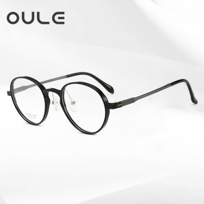 OULE 新款塑钢轻盈眼镜架 男女铝镁合金镜腿复古圆形眼镜框 亮黑色