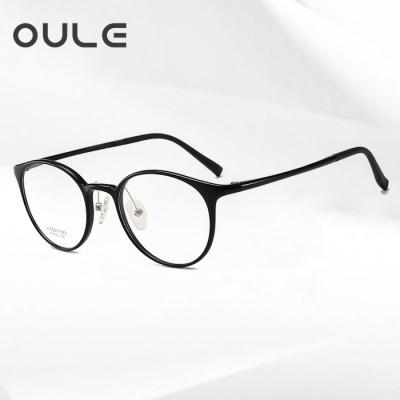 OULE 男女同款钨钛塑钢眼镜框 轻盈舒适复古圆形眼镜 黑色