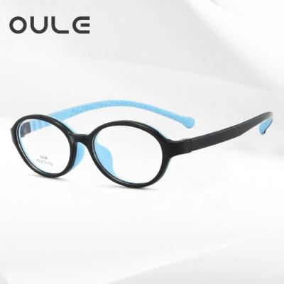 OULE 儿童护眼防辐射近视眼镜 超轻TR90防蓝光眼镜框 小号黑蓝色