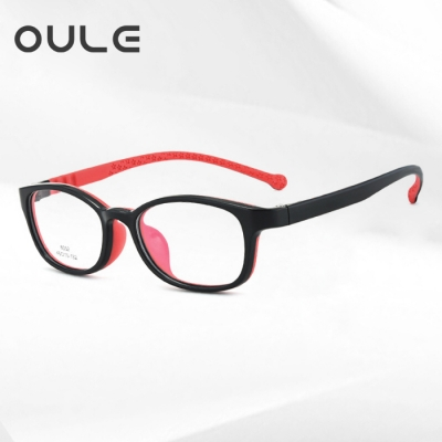 OULE 儿童护眼防辐射近视眼镜 超轻TR90防蓝光眼镜框 中号黑红色