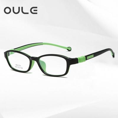 OULE 硅胶儿童学生远视近视眼镜框 男女超轻防蓝光眼镜 黑绿色