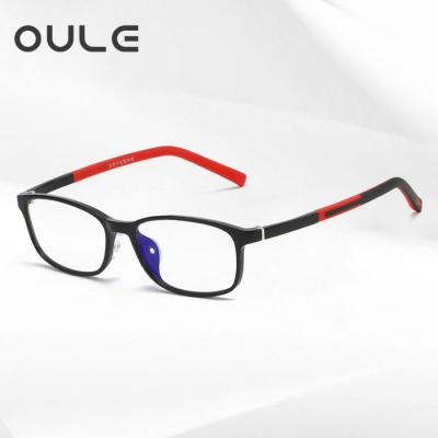 OULE 儿童近视防蓝光眼镜 超轻TR90男女电脑护目镜 黑色框