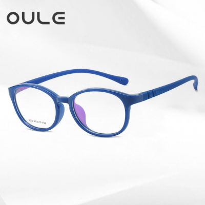OULE 方形儿童眼镜框 TR90双色软胶方型学生眼镜架 深蓝框