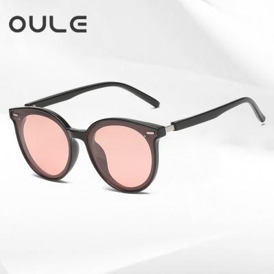 OULE 儿童TR90偏光太阳镜 GM同款韩版潮镜墨镜 黑框粉片
