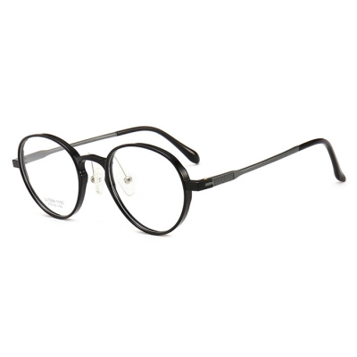 OULE 新款塑钢轻盈眼镜架 男女铝镁合金镜腿复古圆形眼镜框 透灰色