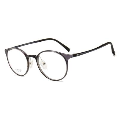 OULE 男女同款钨钛塑钢眼镜框 轻盈舒适复古圆形眼镜 灰色