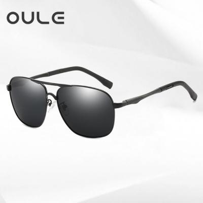 OULE 时尚太阳镜男新款偏光眼镜墨 潮人开车驾驶蛤蟆镜 黑框黑灰片