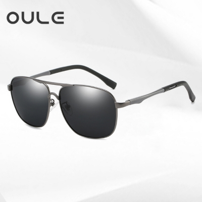OULE 时尚太阳镜男新款偏光眼镜墨 潮人开车驾驶蛤蟆镜 枪框黑灰片