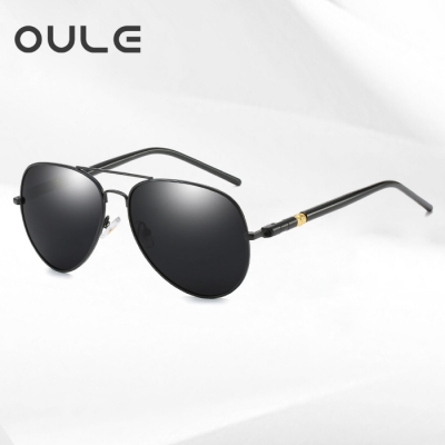 OULE 时尚男士偏光太阳镜 新款开车驾驶蛤蟆墨镜 黑框