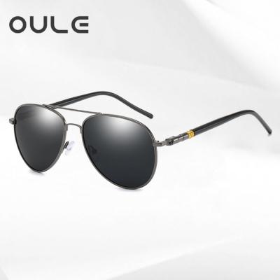 OULE 时尚男士偏光太阳镜 新款开车驾驶蛤蟆墨镜 枪框