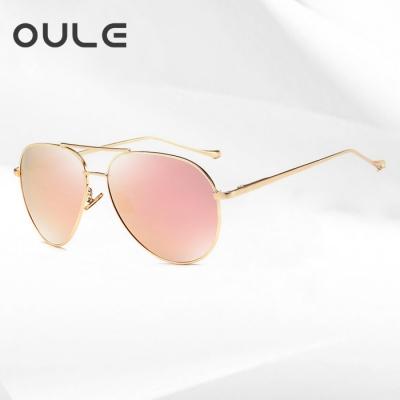 OULE 新款偏光太阳镜 男女飞行员潮流大框炫彩蛤蟆镜 粉色