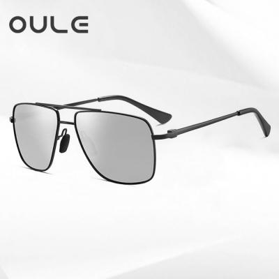 OULE 金属合金双粱偏光墨镜 男士方形大框遮脸潮流欧美太阳镜 水银色