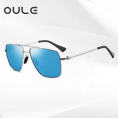 OULE 金属合金双粱偏光墨镜 男士方形大框遮脸潮流欧美太阳镜 冰蓝色
