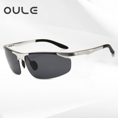 OULE 铝镁合金偏光男士墨镜 户外运动骑行太阳镜护目镜 银框黑灰片