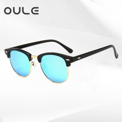 OULE 新款偏光太阳镜 时尚男女TR90柔韧潮流墨镜 黑框冰蓝片