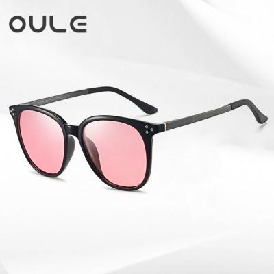 OULE 新款海洋片变色偏光太阳镜 男女TR90时尚轻盈墨镜 黑框粉片