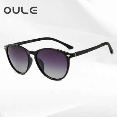 OULE 新款tr90偏光太阳镜 男女铝镁轻盈炫彩弹弓偏光墨镜 黑框黑灰片