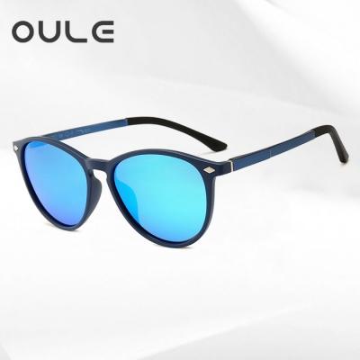 OULE 新款tr90偏光太阳镜 男女铝镁轻盈炫彩弹弓偏光墨镜 蓝框冰蓝片