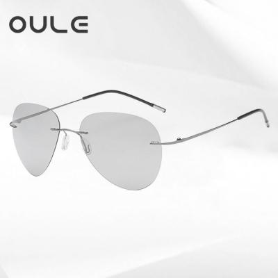 OULE 新款超轻钛合金无框太阳镜 男女偏光变色驾驶蛤蟆镜 A款